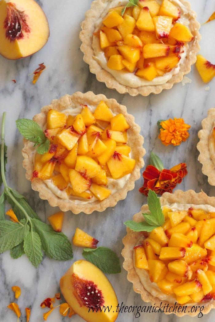 Fresh Peach Tarts with Shortbread Crust (Gluten/grain free option)