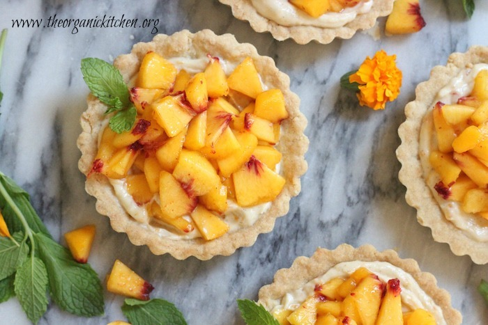 Fresh Peach Tarts with Shortbread Crust