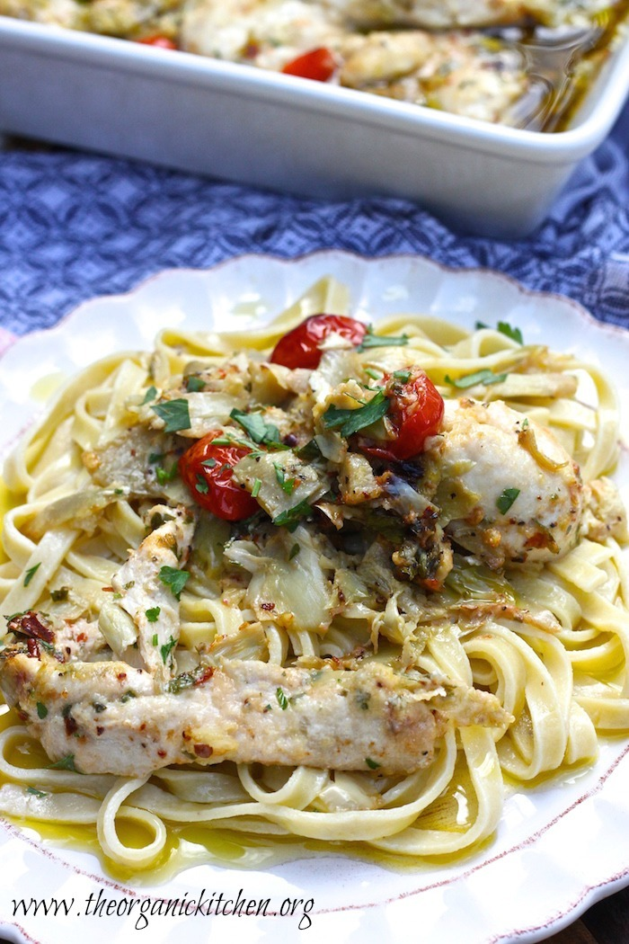 Parmesan and Artichoke Heart Baked Chicken with Parsley