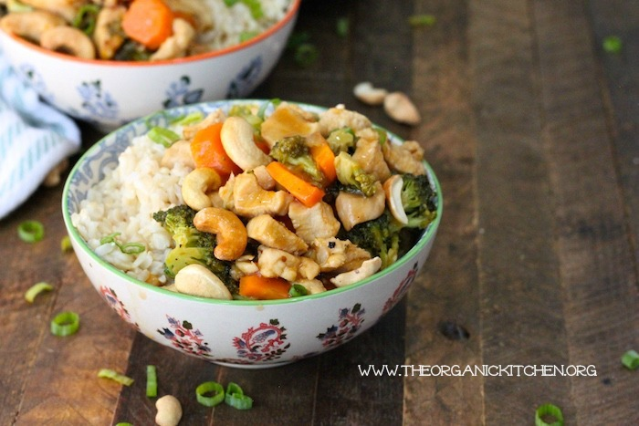 Apricot-Cashew Chicken Rice Bowl