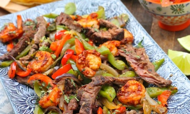 Steak and Shrimp Fajitas with all the Fixings!