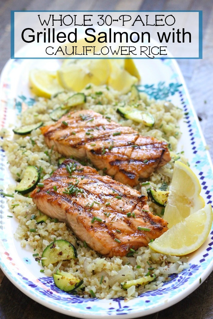 This Grilled Salmon with Cauliflower Rice is a delicious, healthy, Paleo/Whole 30 grilling meal that is so delicious it feels like cheating.