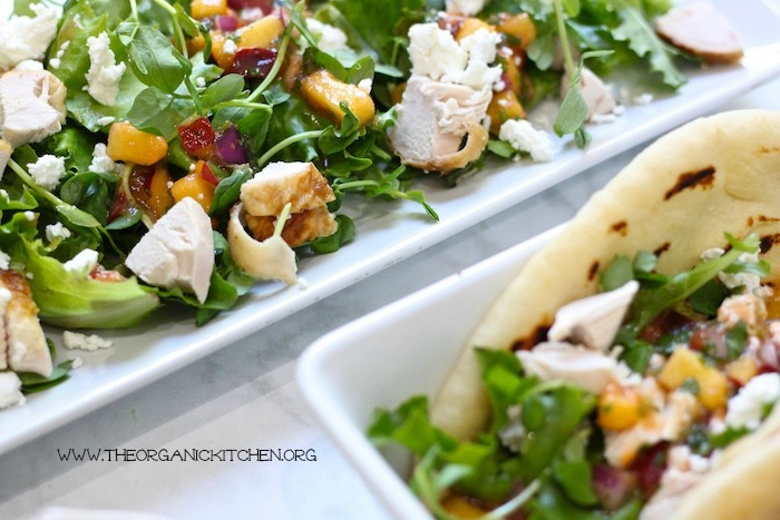 Chicken and Peach Grilled Naan Salad Wraps!