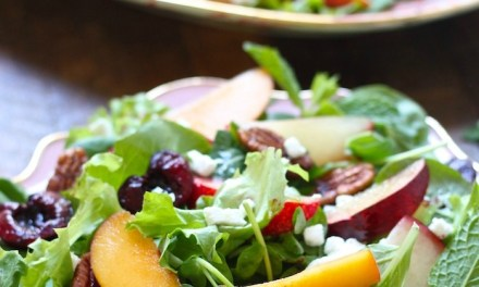 Peach, Plum and Cherry Salad with White Balsamic Vinaigrette!