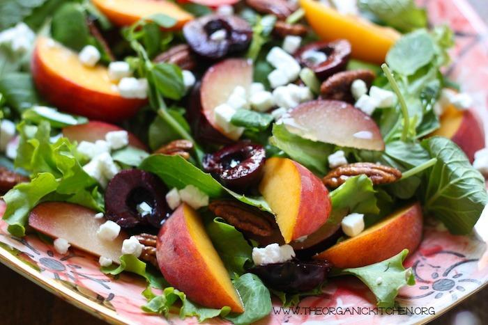 Peach, Plum and Cherry Salad with White Balsamic Vinaigrette!