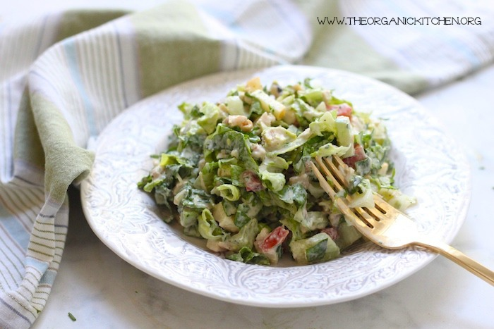 Chopped Chicken Salad with Ranch ~ Whole 30/Paleo in a small white bowl with gold fork
