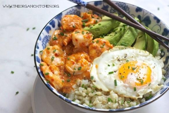 Spicy Shrimp and Cauliflower Rice Bowl: Paleo, gluten free, grain free