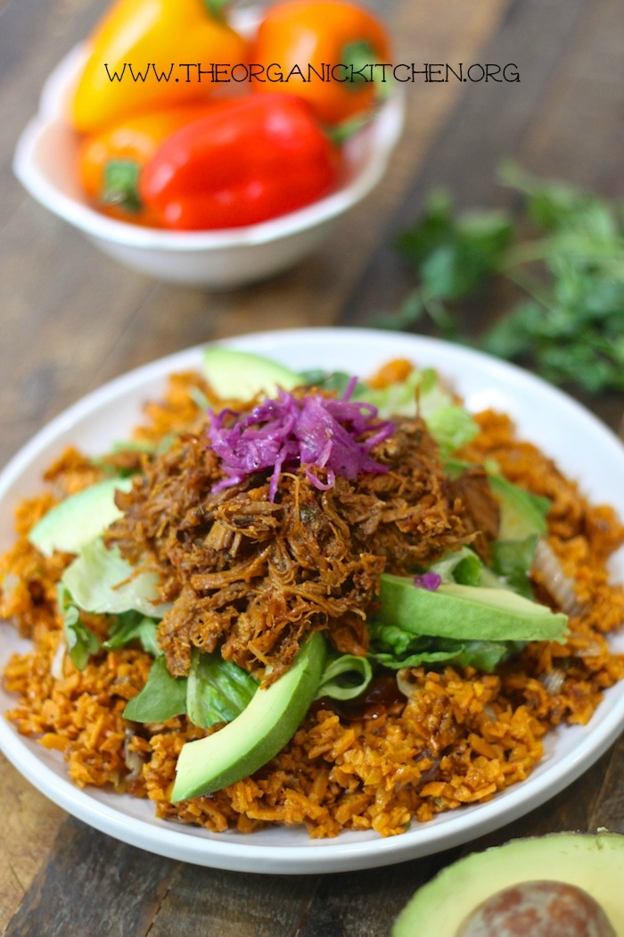 Pulled Pork over Mexican Sweet Potato Rice- Paleo/Whole30 #pulledpork #mexicanrice #whole30 #paleo #sweetpotatorice