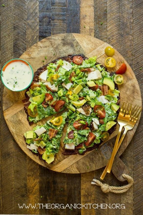 California Chicken Club Salad Pizza! (Cauliflower Crust-Paleo-Keto) #califlowercrustpizza #paleopizza #ketopizza #keto #Cauliflowercrust