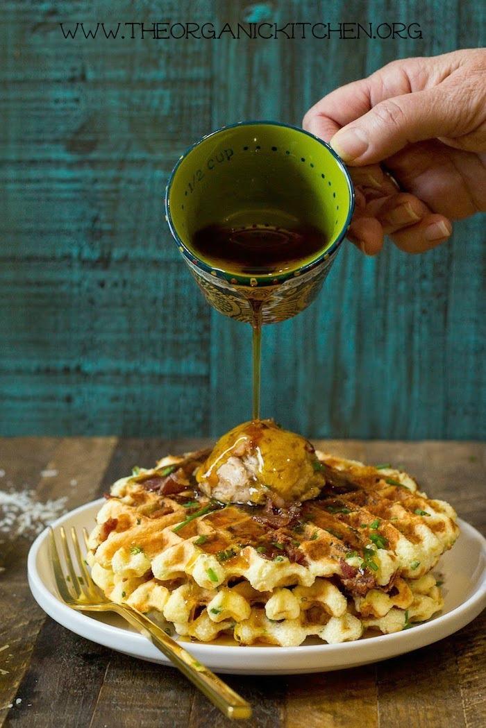 Parmesan Chive Jalapeño Waffles with Maple Cinnamon Butter (Paleo Option) #parmesanchivewaffles #paleowaffles #glutenfreewaffls #maplecinnamonbutter #savorywaffles