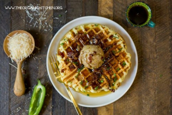 Parmesan Chive Jalapeño Waffles with Maple Cinnamon Butter (Paleo Option) #parmesanchivewaffles #paleowaffles #glutenfreewaffls #maplecinnamonbutter #savorywaffles