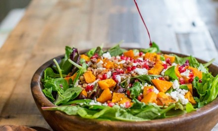 Greens with Roasted Butternut Squash and Pomegranate Vinaigrette!