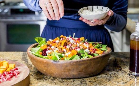 Greens with Butternut Squash and Pomegranate Vinaigrette! #butternutsquash #salad #glutenfree #pomegranatevinaigrette #sundanceutah