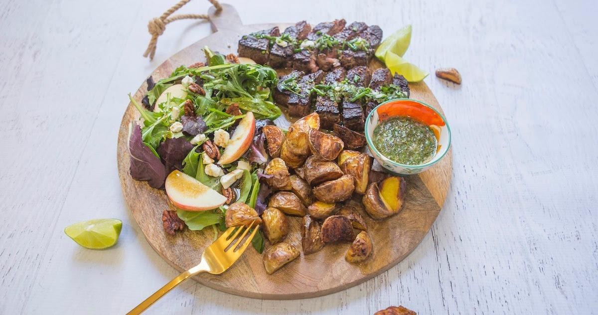 Chimichurri Steak, Potato and Salad Board