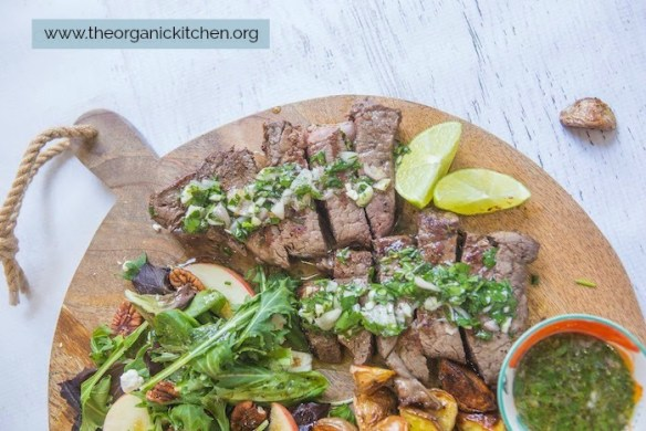Chimichurri Steak, Potato and Salad Board #chimichurristeak #paleo #whole30 #roastedpotatoes