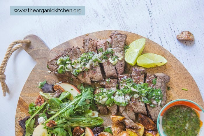 A close up of the steak on the Chimichurri Steak, Potato and Salad Board