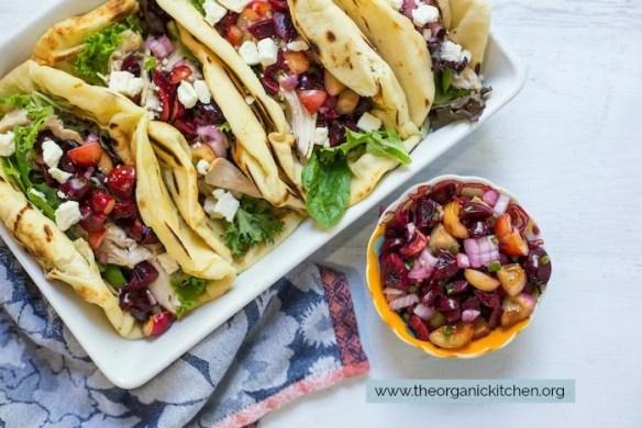 Grilled Naan Chicken Salad Wraps with Cherry Salsa #saladwraps #easydinner #cherrysalsa #chickenwraps