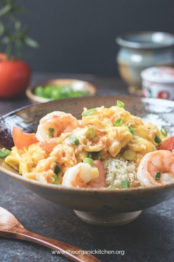 Silky Egg Stir Fry with Jumbo Shrimp #shrimpstirfry #eggstirfry #paleo #whole30 Keto #asianpaleo