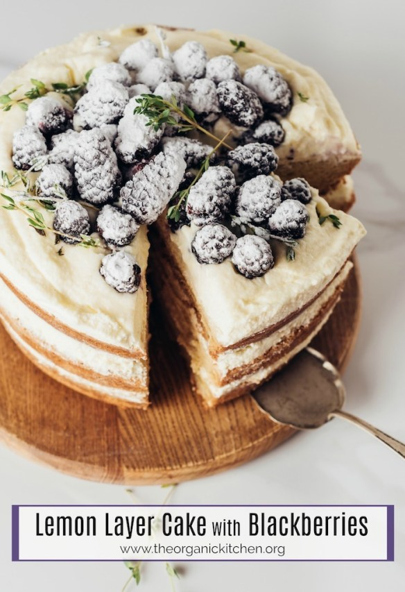 Lemon Layer Cake with Blackberries #lemoncake #blackberrycake #layercake #glutenfree option