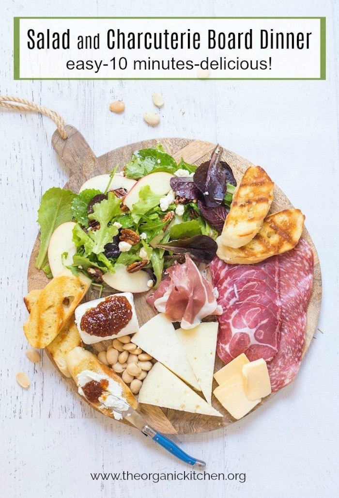 Salad and Charcuterie Board Dinner set on white background