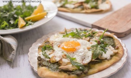Chicken Pesto Burrata Naan Pizza with Fried Egg!