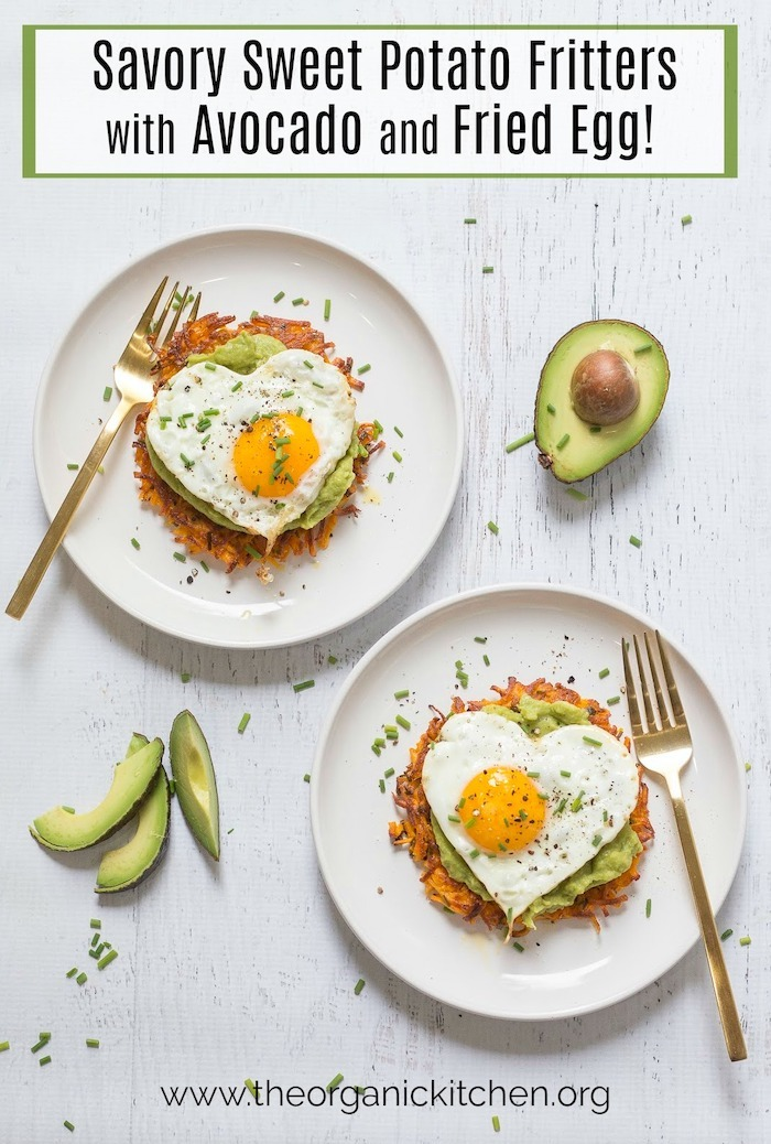Two plates of Savory Sweet Potato Fritters with Avocado and Fried Eggs on white surface with scattered chives and avocado slices