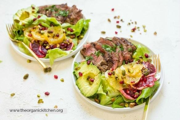Steak with Citrus and Avocado Salad #filetmignon #whole30 #paleo #citrussalad #valentinedinner