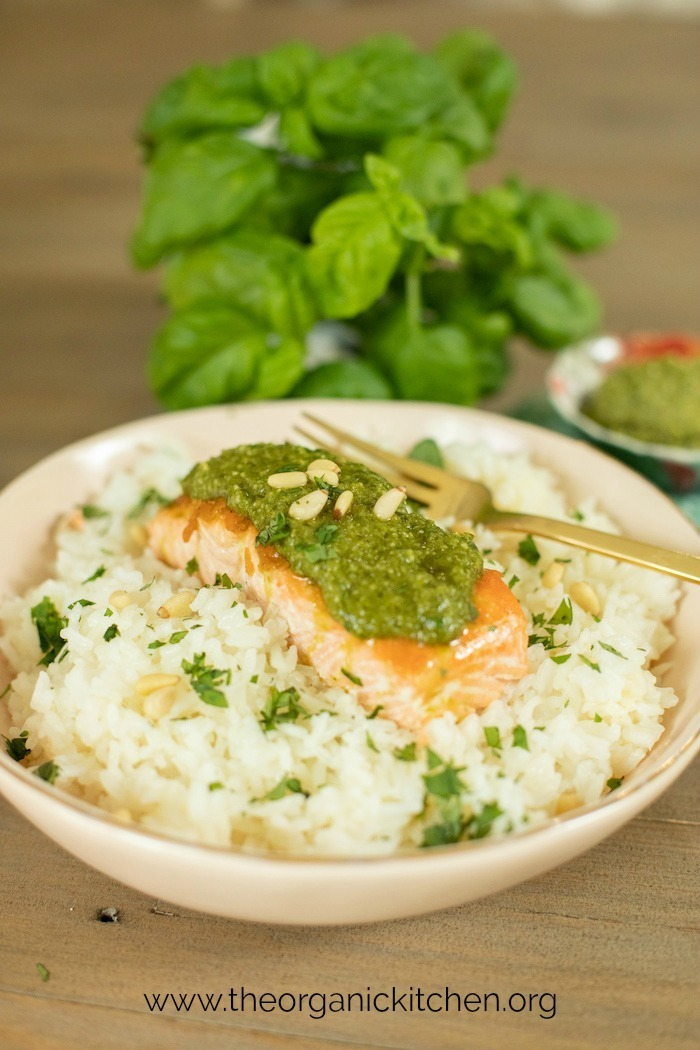 Pesto Salmon on rice with fresh basil in the background