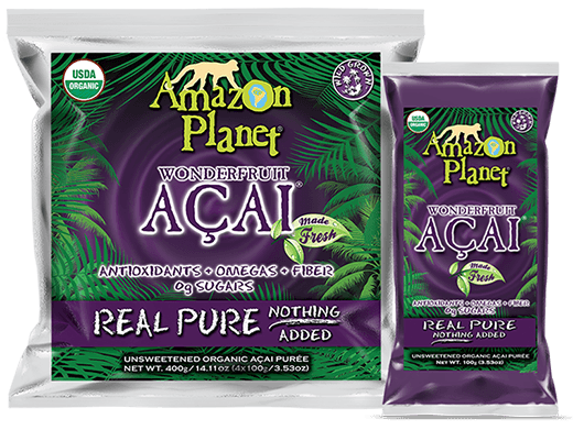 Frozen Packets of Amazon Planet Açaí Berry Puree for use in Healthy Açaí Smoothie Bowl