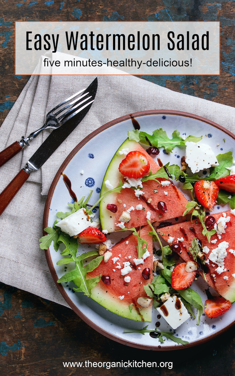 Easy Watermelon Salad with feta and greens on blue plate