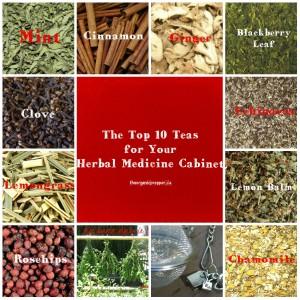 herbal tea collage