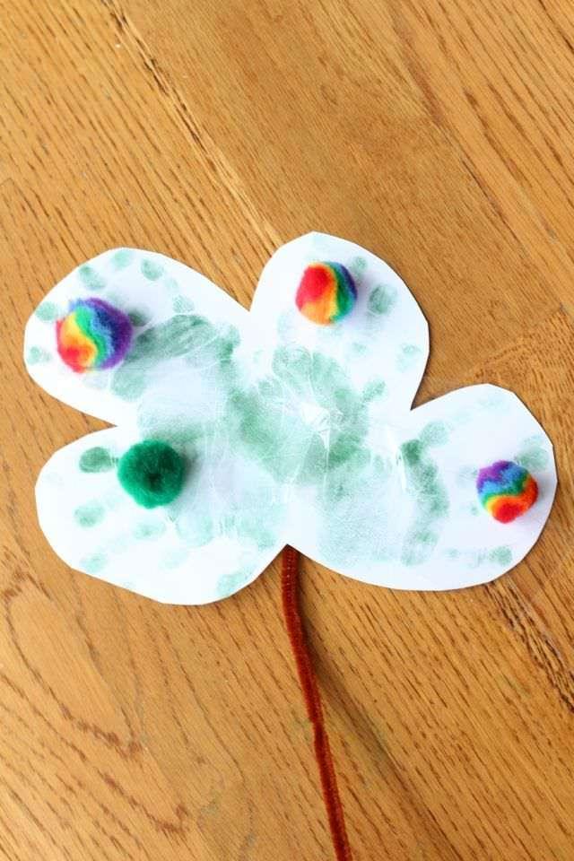 Hand Print Shamrocks Craft - Glue And Pom Poms