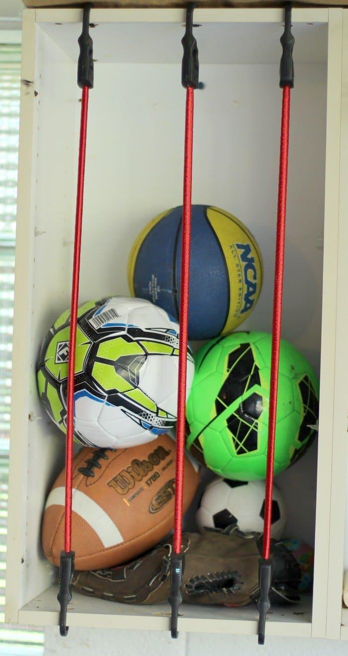 Ball Storage Garage With Bungee Cords