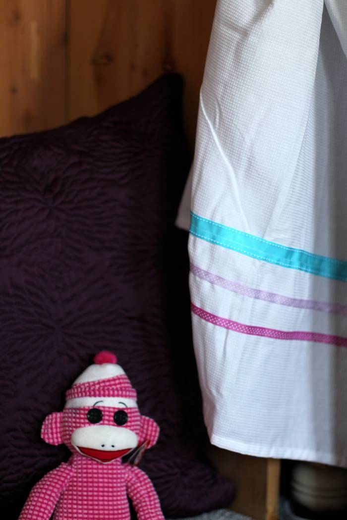 Room Tour: Purple, Teal and Grey Toddler Room - Curtain With Ribbon