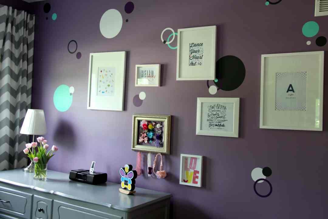 purple, teal, and grey nursery