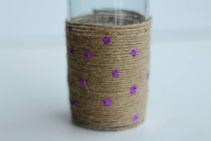 DIY Rope Vase Tutorial - Rope Vase Purple Dots