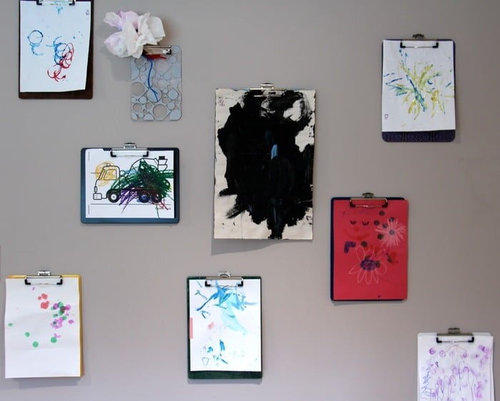 Storing Children's Artwork - Clipboard Wall
