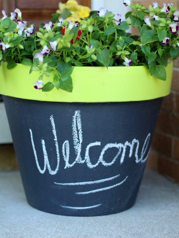 DIY Chalk Paint Terra Cotta Planters - Finished Planter