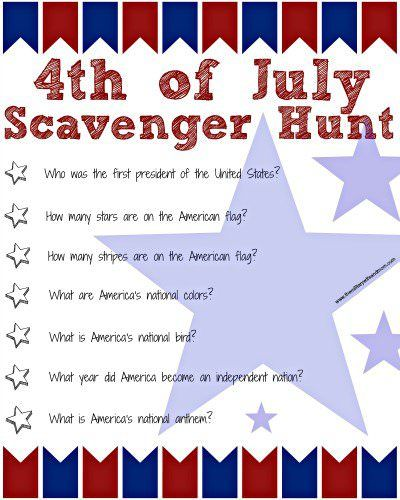 Fourth Of July Ideas - Scavenger Hunt