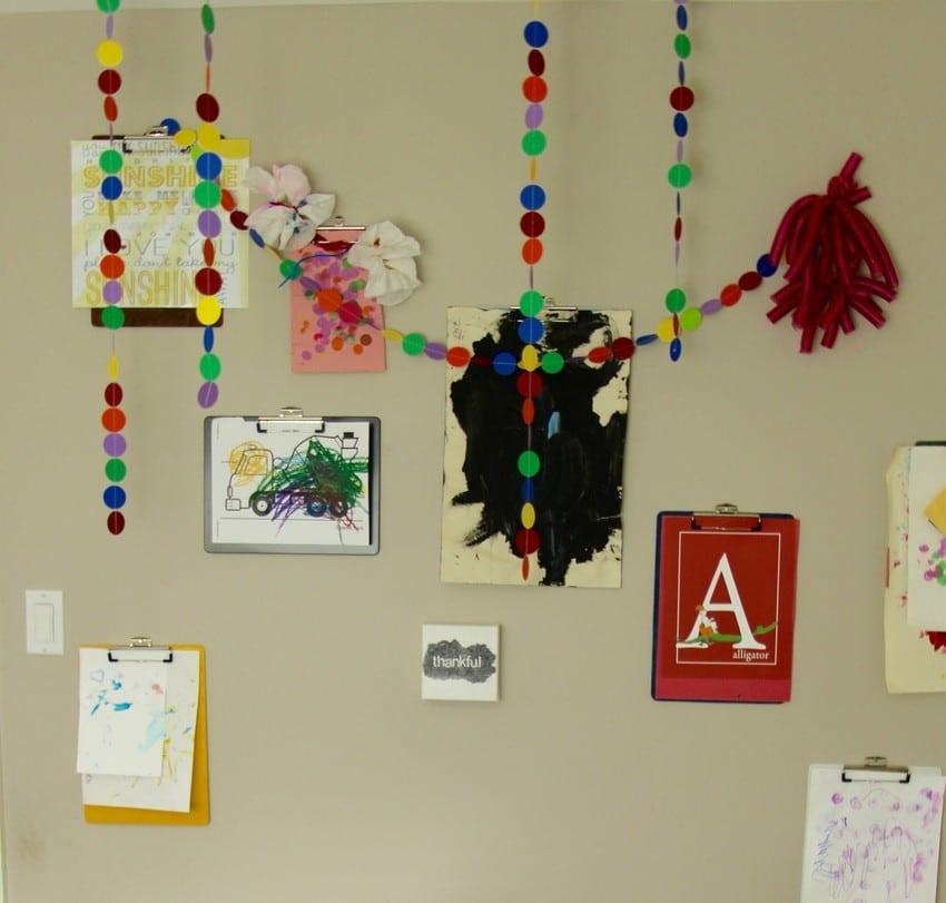 Kids Art Room Ideas - Clipboard Wall