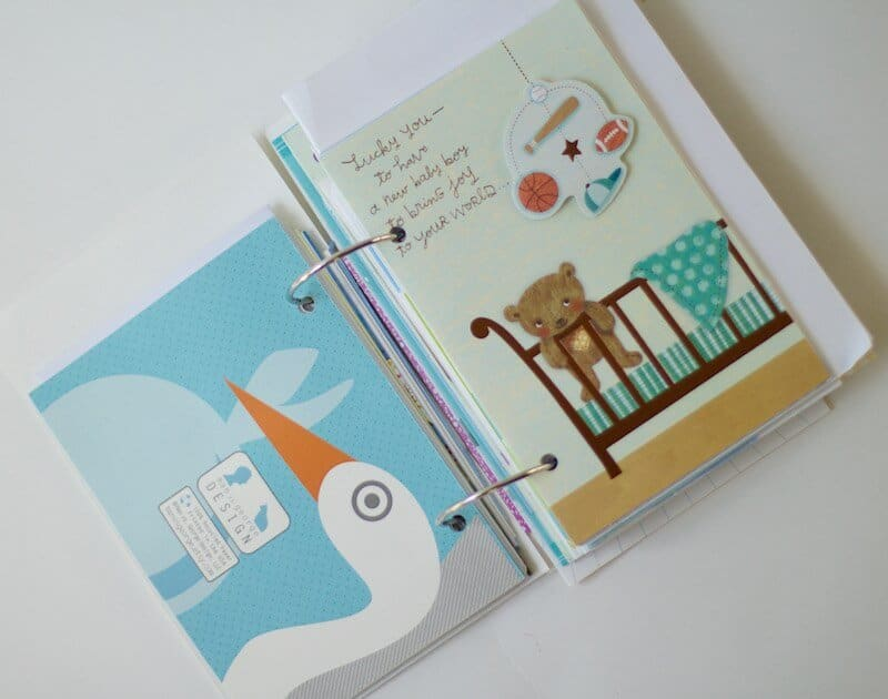 Card Book with cards on binder clip rings