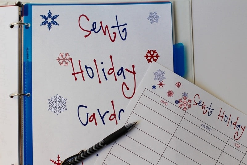 Keeping Tabs On My Holiday Gift-Giving - Sent Holiday Cards