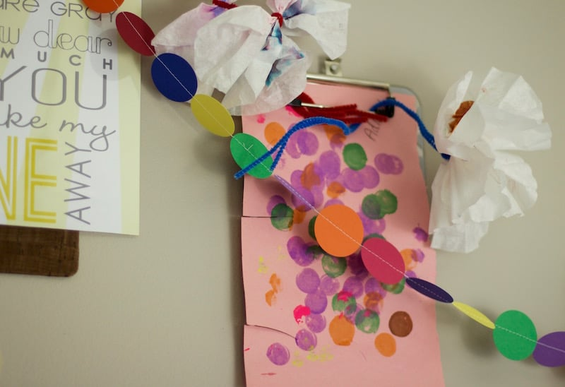 Clipboard Wall with Paper Garland