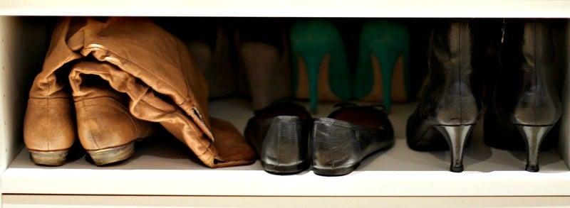 Boots and flats on a shelf #shoeorganization