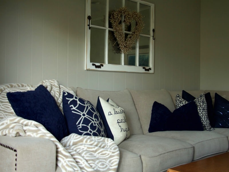 Navy and Neutral Living Room Tour