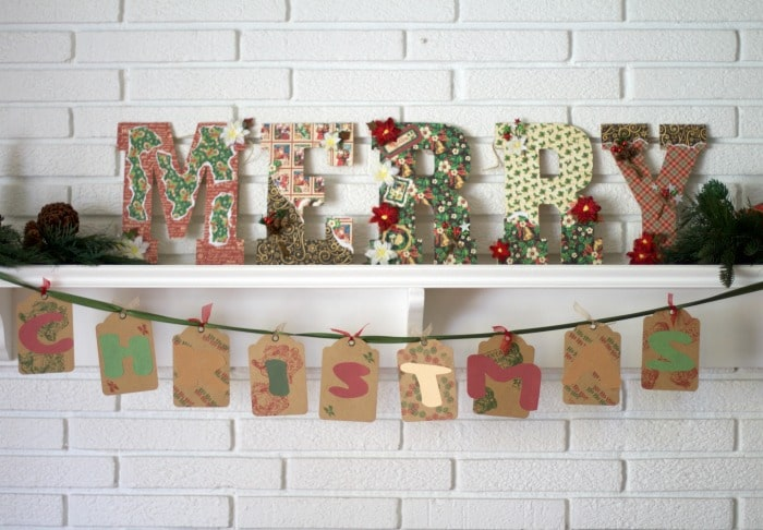 Merry Christmas Mantel Decor Tutorial