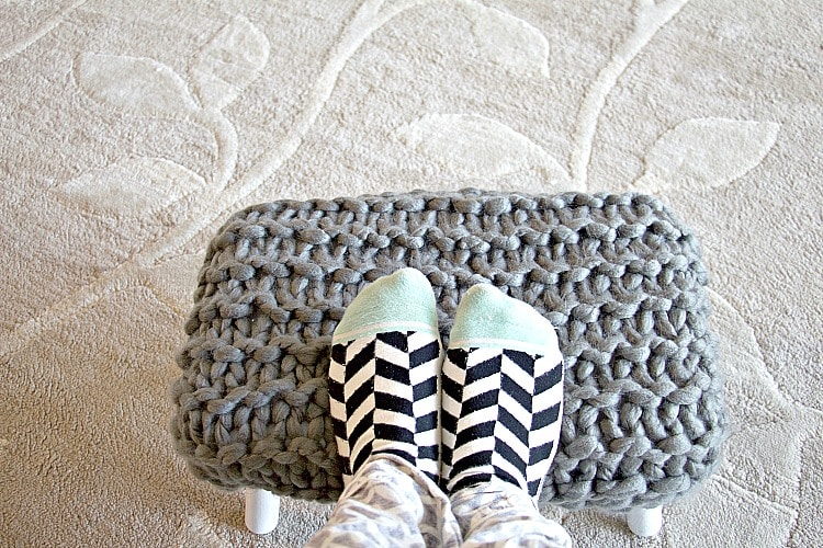 Chunky Knit Upholstered Footstool Tutorial