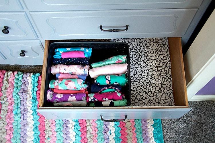 kids pj drawer organization