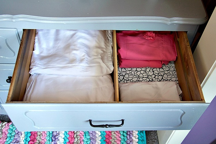 sheets drawer organized