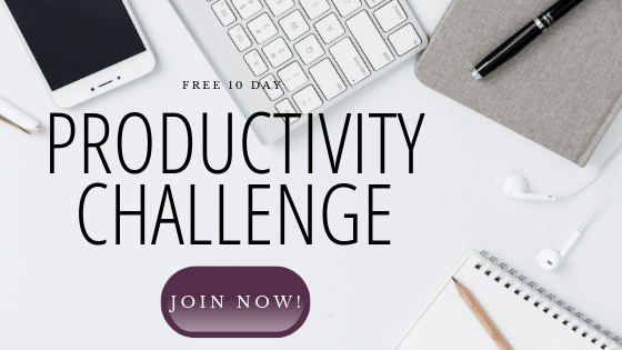 10 day productivity challenge free to join blog insert graphic with computer and phone in background